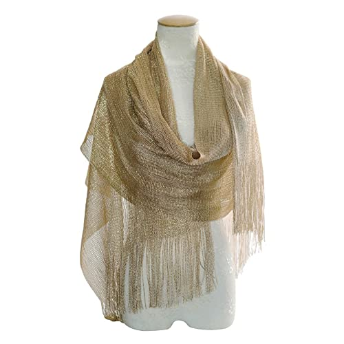 a80544785 MissShorthair Womens Wedding Evening Wrap Shawl Glitter Metallic Prom Party  Scarf with Fringe