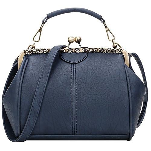 b4e14c5b3b Abuyall Retro Kiss Lock Pu Leather Chains Minimalist Crossbag Bag Diamonds  Appliques Shoulder Purse Handbag Totes