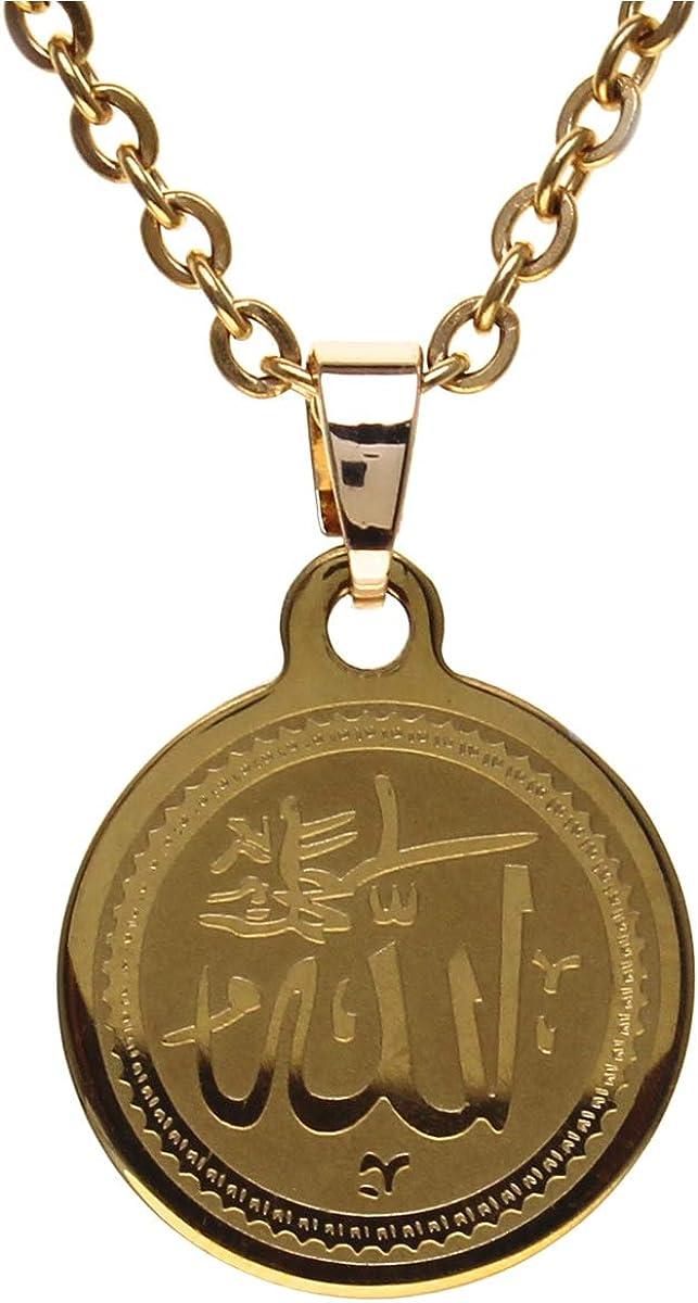 Small Round Gold Pt Allah Necklace Chain Islamic Arabic God Islam Gift Muslim Quran