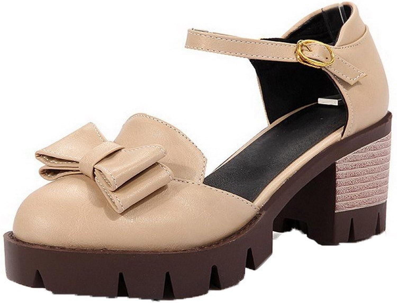 AmoonyFashion Women's Solid PU Kitten-Heels Round-Toe Buckle Sandals