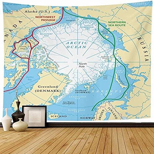 Tapiz Tapiz De Pared Círculo Atlántico Océano Ártico Mapa De Ruta Del Mar Hemisferio Noroeste Ciencia Pasaje Norte Polar Decoración Del Hogar Ornamento O Decoración 150*200Cm