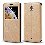 Motorola Nexus 6 Case, Wood Grain Leather Case with Card Holder and Window, Magnetic Flip Cover for Google Nexus 6