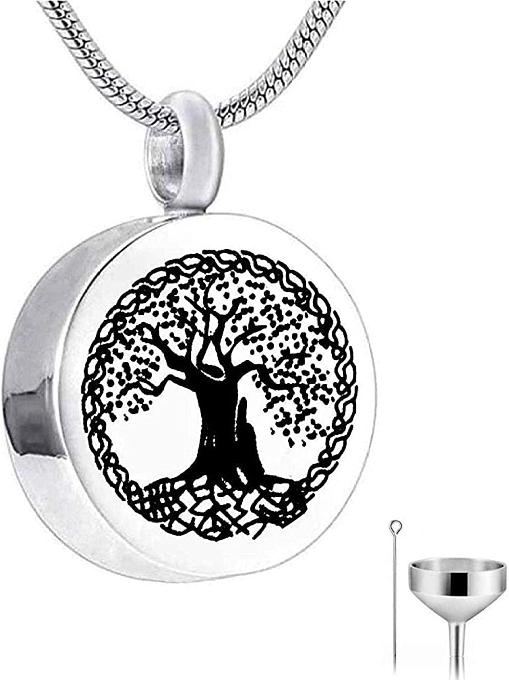 Memorial Jewelry Cremation Jewelry Urn Cremation Jewellery Ashes Chain Heart Pendant Necklace Off-White Tree of Life Memorial Grandma Aunt Wife Daughter Mom R