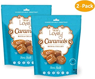 Soft and Chewy Sea Salt Caramels (2-Pack) - Lovely Co. (2) 6 oz. Bags - Old Fashioned Style, Authentic Caramel Candies - Non-GMO, Soy & HFCS- Free, Gluten-Free and Kosher!