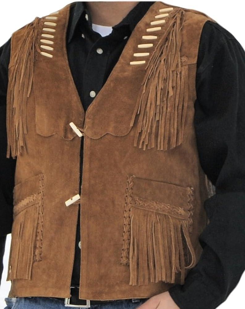 Classyak Men's Western Cowboy Fringed Suede Leather Vest