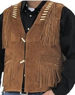 Men's Western Cowboy Fringed Suede Leather Vest
