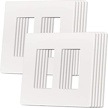 ETERMTT Outlet Cover, Screwless Decorator Wall Plate, Light switch Power Plug Cover, 2-Gang Standard Size, White, 10 Pack