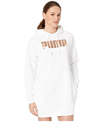 PUMA Holiday Pack Fleece Sweatshirt Dress (White) Women