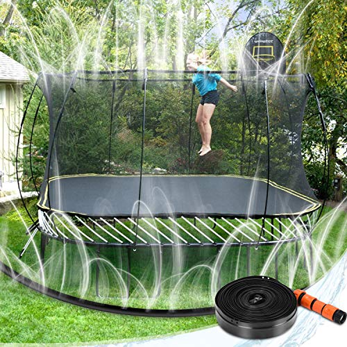 FEBBI Trampoline Sprinkler, Thickened Trampoline Water Play Sprinkler for Kids, Fun Summer Outdoor Water Park Toys, New Upgrade Connector Trampoline Accessories(39ft)