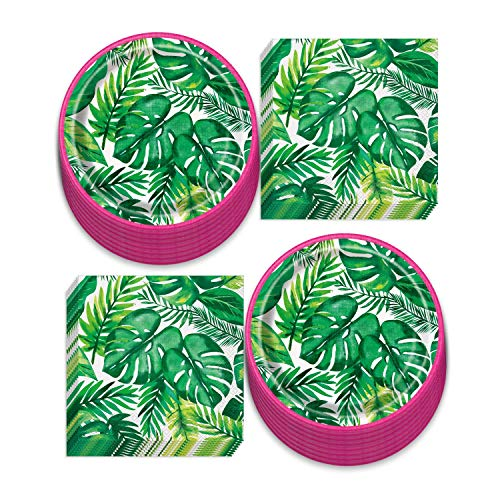 Luau Party Supplies - Tropical Palm Leaf & Pink Trim Paper Dessert Plates and Luncheon Napkins (Serves 16)