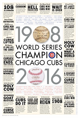 """OnceEvery108 Chicago Cubs 2016 World Series Poster with MLB City Newspaper Headlines and Ledes 20""""x30"""""""