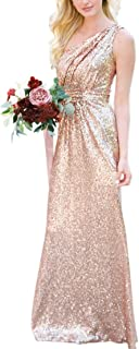 JONLYC A-Line One Shoulder Sequin Long Bridesmaid Dresses Wedding Party Gown