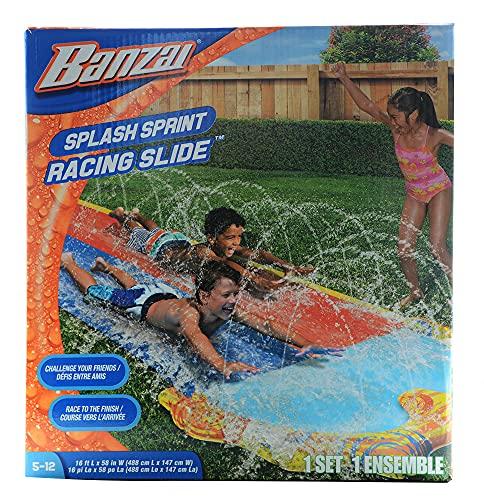 Banzai 42323, Scivolo ad acqua doppio con irrigatore, due corsie, per gare, 488 x 147 x 6.3 cm