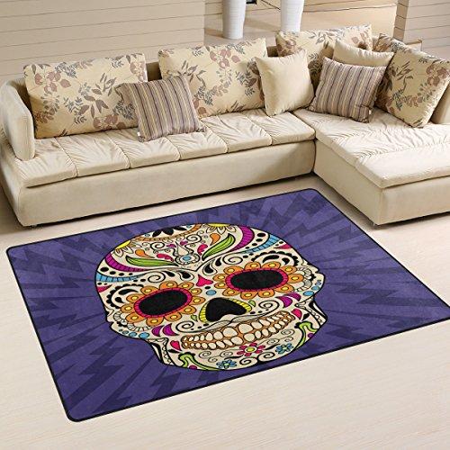 Coosun Couleur mexicain Tête de mort Zone Tapis Moquette antidérapant Tapis de sol Paillasson pour salon Chambre à coucher 78.7 x 50.8 cm, Tissu, multicolore, 31 x 20 inch