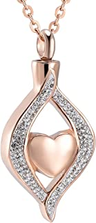 Crystal Teardrop Heart Cremation Urn Pendant Memorial Necklace for Women Stainless Steel Ashes Holder Keepsake Jewelry
