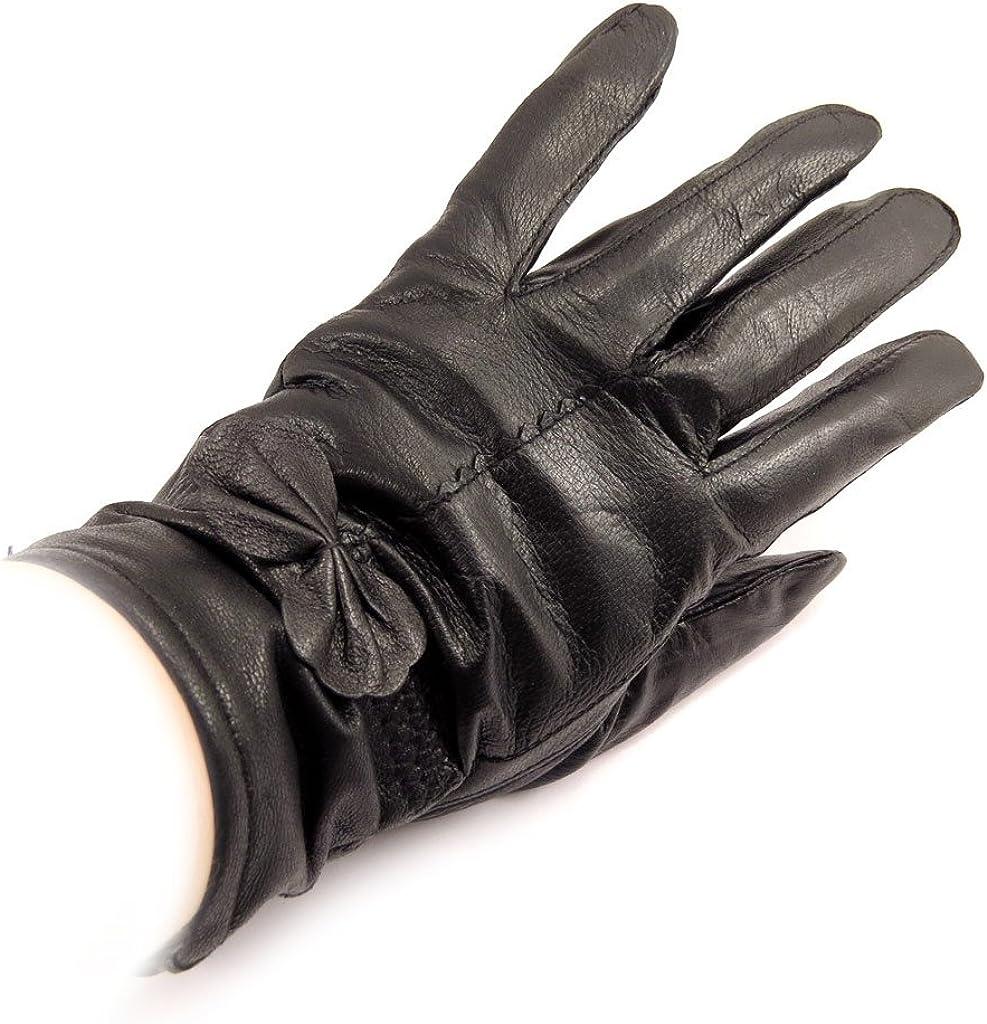 Leather gloves for women 'Clothilde' black.