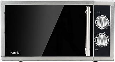 H.Koenig VIO7 Microondas con Grill, Potencia 900 W y Potencia Grill 1000W, 23 litros, Temporizador hasta 30 min, 5 Niveles de Potencia de Calentado, Modo Grill y Descongelador, Plato Giratorio 27 Cm,