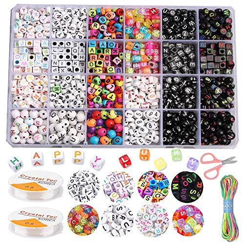 TWSTYFAL Perlas para enhebrar joyas infantiles, juego de cuerdas de joyas, letras de perlas, joyas de joyas, 24 estilos, pulseras de la amistad, collares, artesanía para niñas y niños.