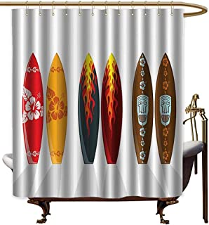 Godves Bath Shower Curtain,Surfboard Decor Collection Collection of Boards with Hawaiian Patterns and Flames Mask Active Full of Life Stylish Swim Image,Shower Curtain with Hooks,W72x72L,Red