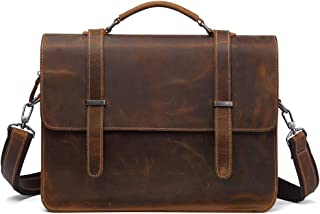 Computer Bag for Laptop Genuine Leather Briefcase for Men Large Capacity Backpack (Color : Brown, Size : S)