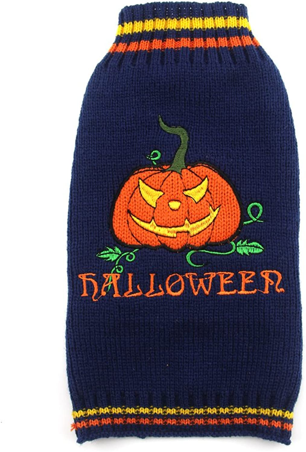 DOGGYZSTYLE Halloween Sweater Costume for Small Medium Large Dogs Navy bluee & orange Pumpkin Knit Pet Outfit (XXS, Pumpkin)