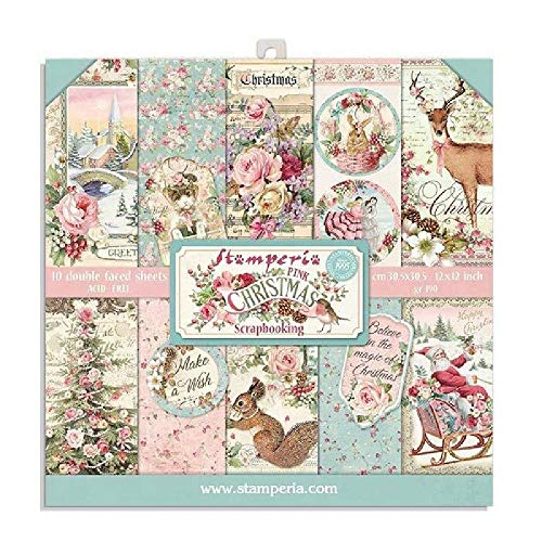 Stamperia Double Face Pink Christmas Scrapbook Paper Pad 8x8' Block 10 Sheets Double Sided Card Stock