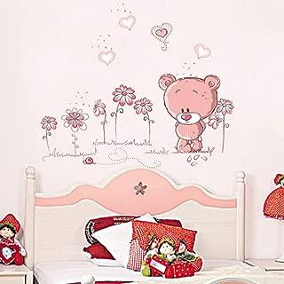 RONGAN Mignon Rose Dessin Animé Animal Amour Ours Fleur Bébé Enfants Chambre Chambre Décor Stickers Muraux Enfants Crèche Autocollant Autocollant Fille Cadeau