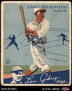 1934 Goudey # 10 Chuck Klein Chicago Cubs (Baseball Card) Dean's Cards 1.5 - FAIR Cubs