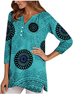 Plus Size Tops - Three Quarter Sleeve Printed Tops for Women V Neck Shirt Printed Tops Loose Blouse S-5XL