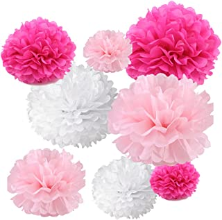 Gold Fortune 18PCS Tissue Hanging Paper Pom Poms Flower Ball Wedding Party Outdoor Decoration Tissue Paper Pom Pom Flowers...
