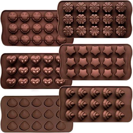 CNYMANY Lot de 6 moules à gâteaux, en silicone souple et anti-adhésif, 6 formes