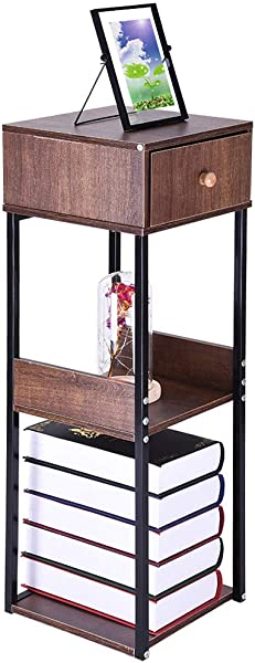 Sdoveb Floor Racks Living Room Balcony Storage Table Bookcase Sofa Side Desk Coffee Table Bed Side Table Night Stand Wood Color