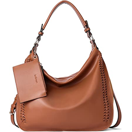Handtasche Leder Damen Hobo Schultertaschen Frauen Ledertasche groß Umhängetasche Beuteltasche Braun