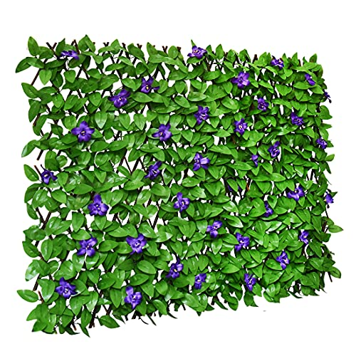 Sumery Expandable Fence Privacy Screen for Balcony Patio Outdoor,Decorative Faux Ivy Fencing Panel,Artificial Hedges (Single Sided Leaves) (1, Green Flowers)