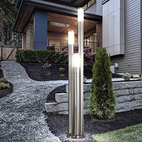 LED Außen Stehlampe Standleuchte Garten Beleuchtung EDELSTAHL Hof Wegleuchte Veranda Terrasse 3-Fammig