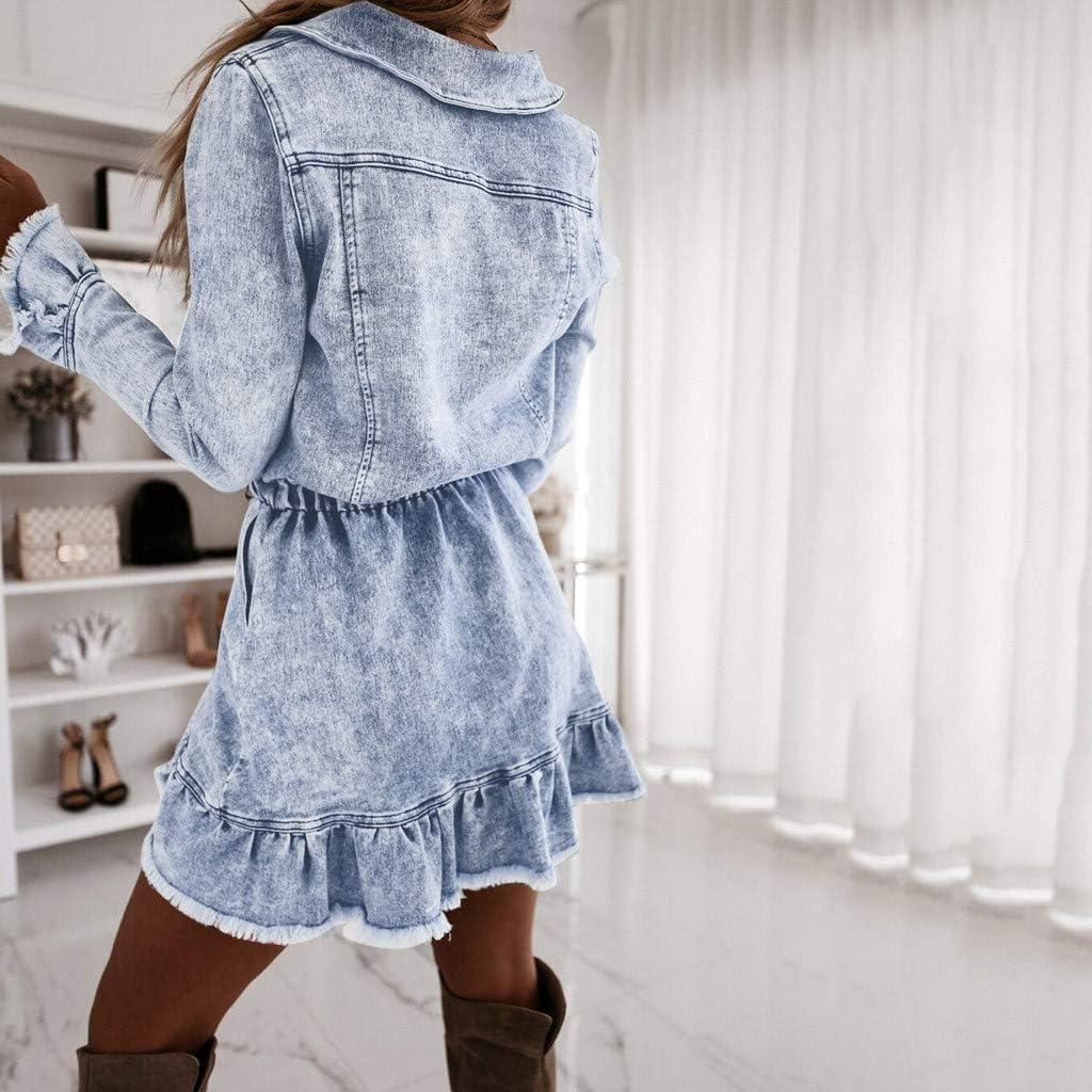 FRAUIT Damen Denim Kleid Jeanskleid Party Kleider für Damen Langarm Swing Dress Lange Denim Mantel Jeansjack Lose Minikleid Denim Jeans Kleider Vintage Schickes Swing Dress Blau