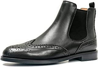 ONEENO Women's Brogue Leather Chelsea Boots