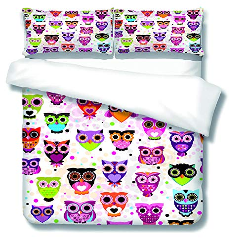 XCLXJ Single Duvet Covers Set 3D Owl Pattern Printe Bedding Set 2 Piece Easy Care and Soft Microfiber Fabric Creative Gift for Kids Boys Girls Teens Adults Old Man(135x200 cm)
