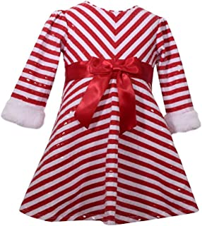 Bonnie Baby Infant Girls Red Candycane Stripe Christmas Holiday Party Dress Baby Outfit