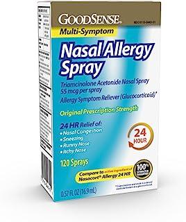 GoodSense Multi-Symptom Nasal Allergy Spray, Triamcinolone Acetonide Nasal Allergy Spray, 55 mcg per spray, 0.57 Fluid Ounces
