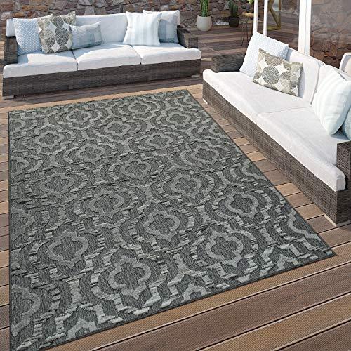 Paco Home In- & Outdoor Terrassen Teppich Ethno Muster Bordüre Wetterfest Modern In Grau, Grösse:80x150 cm