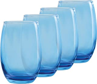 Circleware 44831 Uptown Stemless Wine Glasses, Set of 4, Party Entertainment Dining Beverage Drinking Cup Glassware for Water, Beer, Liquor, Whiskey & Best Bar Barrel Decor Gifts, 15 oz, Blue