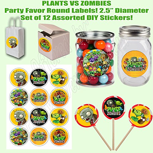 "Plants vs Zombies, Large 2.5"" Round Circle Stickers to place onto Party Favor Bags, Cards, Boxes or Containers -12 pcs, Video Game"