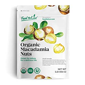 Organic Macadamia Nut Pieces, 1 Pound - Non-GMO, Unsalted, Unroasted, Kosher, Raw, Vegan, Bulk