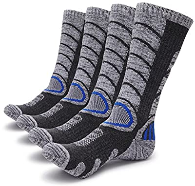 Gosuban 2 Pairs Antiskid Wicking Outdoor Multi Performance Hiking Cushion Socks for Men and Women, Assort Colors