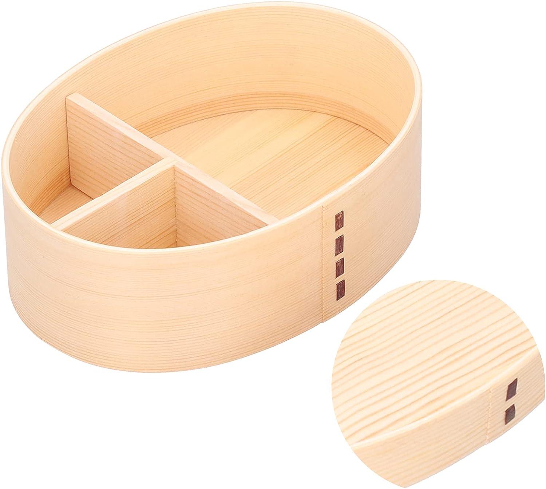 Caja Bento de color madera, forma ovalada, fiambrera japonesa Vintage para sushi, contenedor de almacenamiento de alimentos para estudiantes y adultos