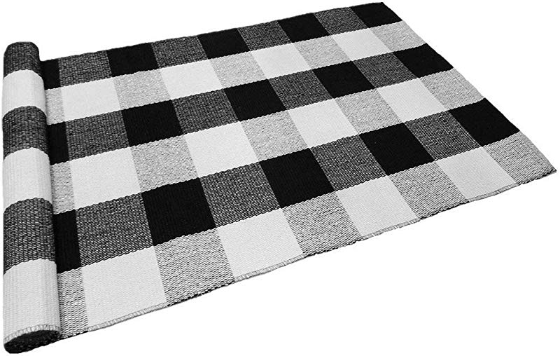 Levinis Black And White Plaid Rug 100 Cotton Porch Rugs Black White Hand Woven Checkered Door Mat 23 6 X35 4