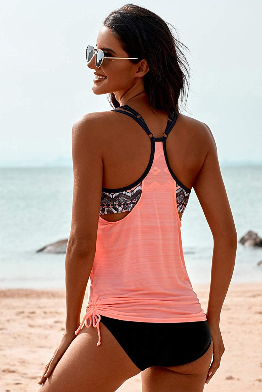 Womens Blouson Striped Printed Strappy T-Back Push up Tankini Top Sets Swimsuits with Bikini Bottom Set