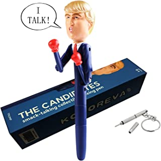 UAHAPY Donald Trump Gag Gifts Boxing Pen Stress Relief Toy Trump's Real Voice Talking Ballpoint Pens