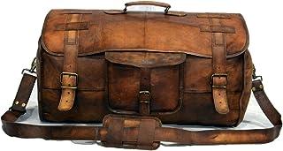 Leather Flap Weekend Duffel Travel Cabin Holdall Gym Sports Luggage 22 inch